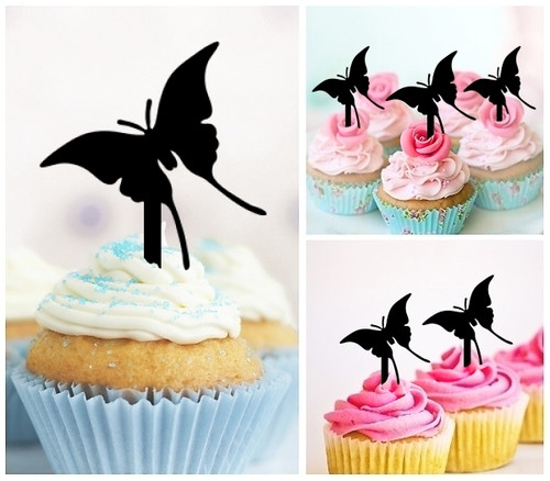TA0001 Butterfly Silhouette Party Wedding Birthday Acrylic Cupcake Toppers Decor 10 pcs