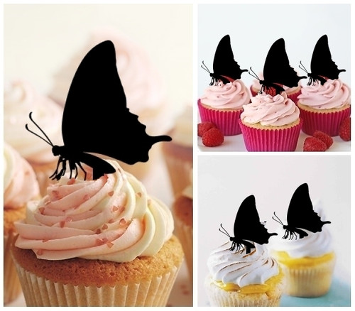 TA0002 Butterfly Silhouette Party Wedding Birthday Acrylic Cupcake Toppers Decor 10 pcs