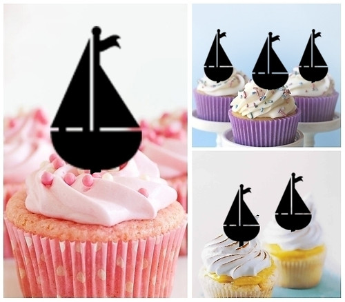 TA0019 Sailboat Sailing Silhouette Party Wedding Birthday Acrylic Cupcake Toppers Decor 10 pcs