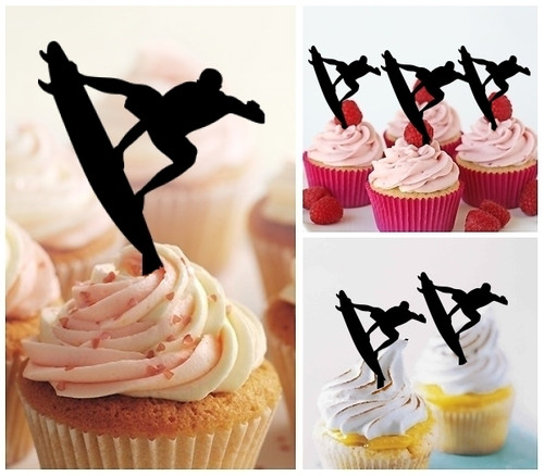 TA0020 Surf Surfboard Silhouette Party Wedding Birthday Acrylic Cupcake Toppers Decor 10 pcs