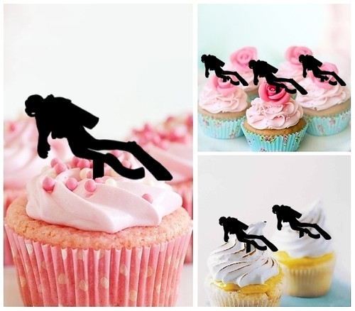 TA0063 Diver Silhouette Party Wedding Birthday Acrylic Cupcake Toppers Decor 10 pcs