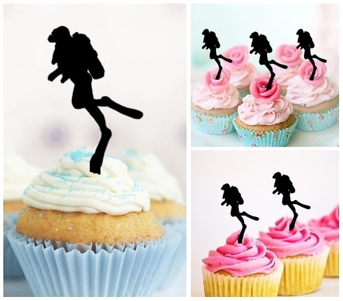 TA0064 Diver Silhouette Party Wedding Birthday Acrylic Cupcake Toppers Decor 10 pcs
