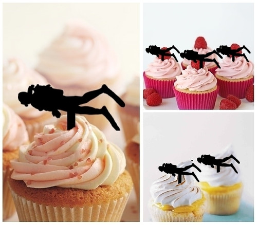 TA0066 Diver Silhouette Party Wedding Birthday Acrylic Cupcake Toppers Decor 10 pcs