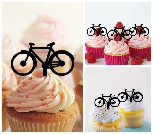 TA0070 Bicycle Silhouette Party Wedding Birthday Acrylic Cupcake Toppers Decor 10 pcs