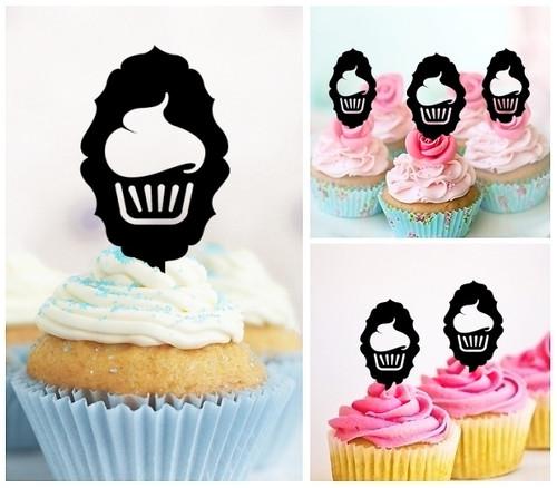 TA0221 Cupcake Silhouette Party Wedding Birthday Acrylic Cupcake Toppers Decor 10 pcs