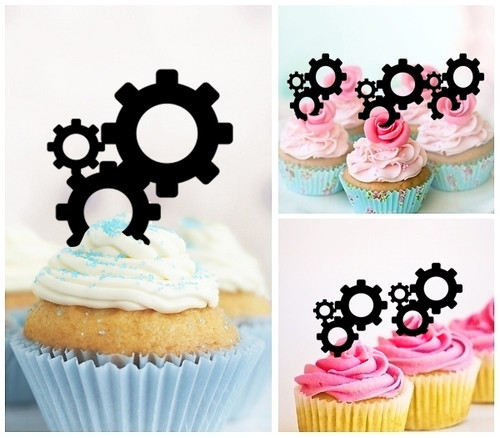 TA0371 Gear System Silhouette Party Wedding Birthday Acrylic Cupcake Toppers Decor 10 pcs