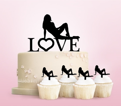 TC0005 Love Sexy Girl Party Wedding Birthday Acrylic Cake Topper Cupcake Toppers Decor Set 11 pcs
