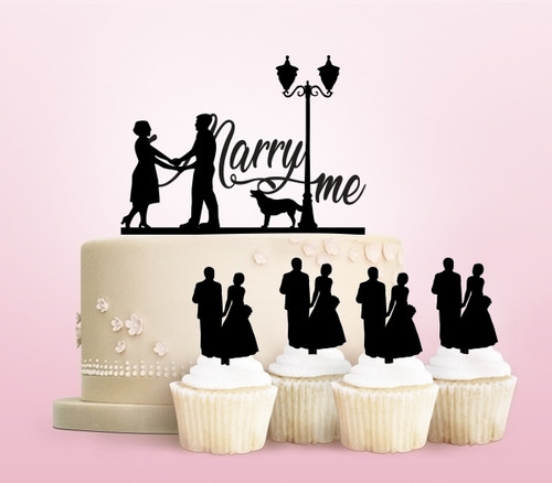 TC0006 Marry Me Party Wedding Birthday Acrylic Cake Topper Cupcake Toppers Decor Set 11 pcs
