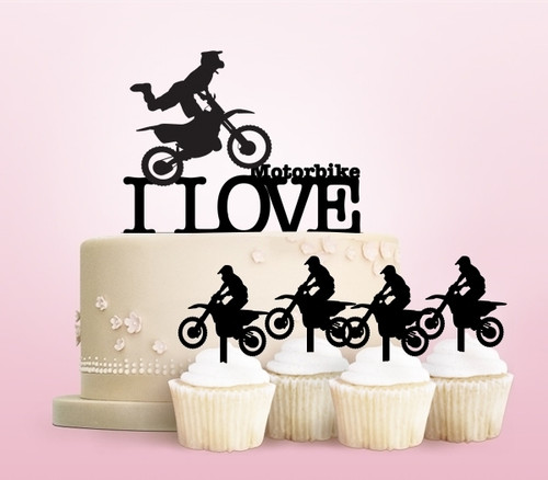 TC0007 I Love Motorbike Party Wedding Birthday Acrylic Cake Topper Cupcake Toppers Decor Set 11 pcs