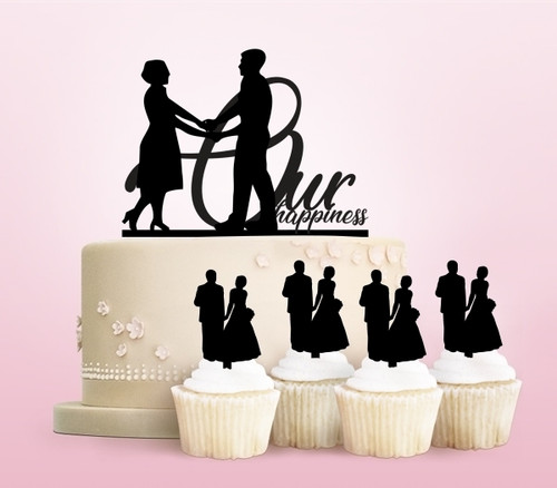 TC0008 Our Happiness Party Wedding Birthday Acrylic Cake Topper Cupcake Toppers Decor Set 11 pcs