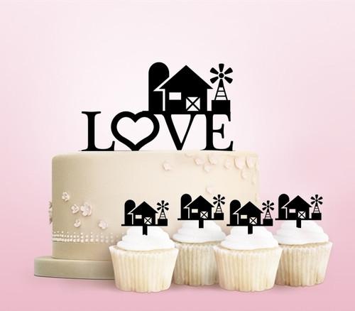 TC0009 Love Farm Party Wedding Birthday Acrylic Cake Topper Cupcake Toppers Decor Set 11 pcs