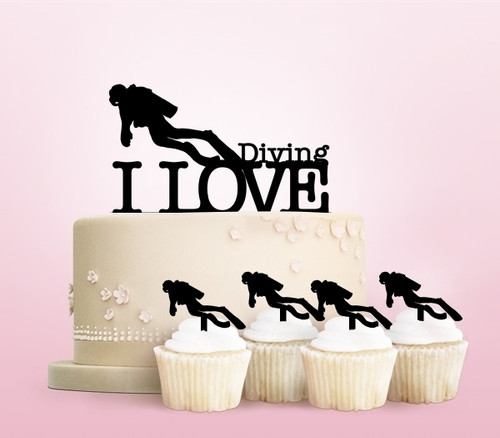 TC0011 I Love Diving Party Wedding Birthday Acrylic Cake Topper Cupcake Toppers Decor Set 11 pcs