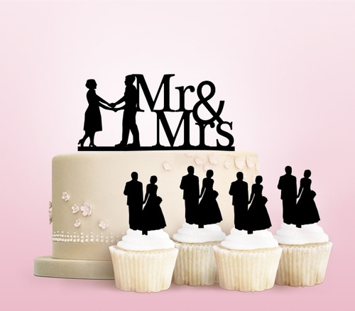 TC0012 Mr and Mrs Couple Party Wedding Birthday Acrylic Cake Topper Cupcake Toppers Decor Set 11 pcs