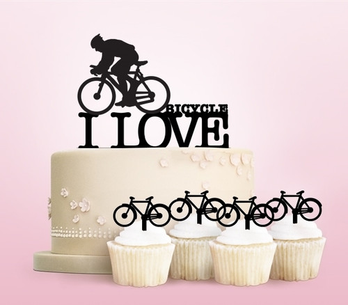 TC0013 I Love Bicycle Party Wedding Birthday Acrylic Cake Topper Cupcake Toppers Decor Set 11 pcs