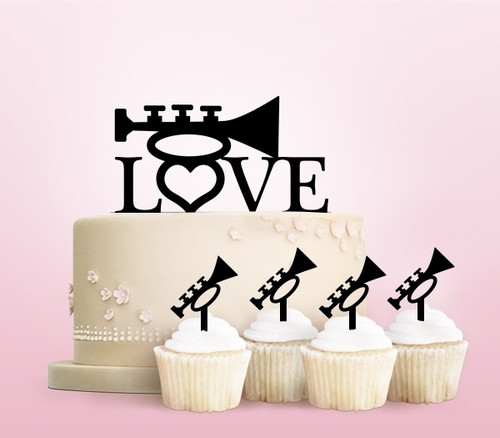 TC0015 Love Trumpet Party Wedding Birthday Acrylic Cake Topper Cupcake Toppers Decor Set 11 pcs