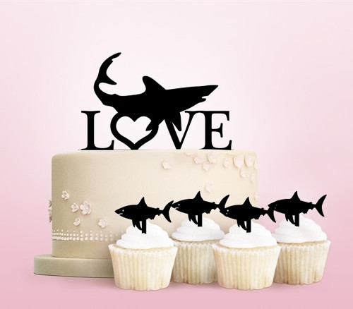 TC0019 Love Shark Party Wedding Birthday Acrylic Cake Topper Cupcake Toppers Decor Set 11 pcs