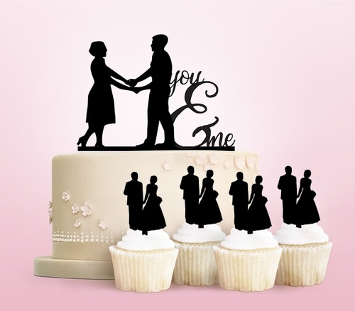 TC0020 You and Me Party Wedding Birthday Acrylic Cake Topper Cupcake Toppers Decor Set 11 pcs