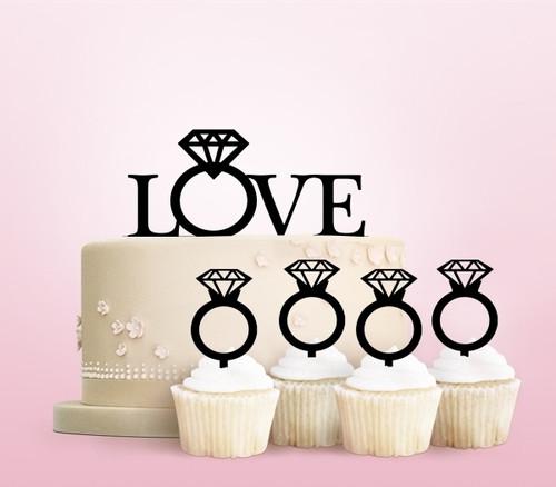 TC0022 Love Diamond Ring Party Wedding Birthday Acrylic Cake Topper Cupcake Toppers Decor Set 11 pcs