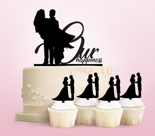 TC0058 Our Happiness Love Party Wedding Birthday Acrylic Cake Topper Cupcake Toppers Decor Set 11 pcs