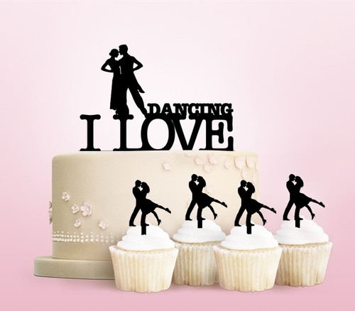 TC0064 I Love Dancing Party Wedding Birthday Acrylic Cake Topper Cupcake Toppers Decor Set 11 pcs