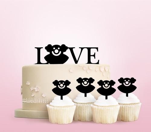 TC0081 Love Bozo Circus Party Wedding Birthday Acrylic Cake Topper Cupcake Toppers Decor Set 11 pcs
