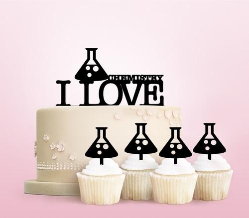 TC0084 I Love Chemistry Party Wedding Birthday Acrylic Cake Topper Cupcake Toppers Decor Set 11 pcs