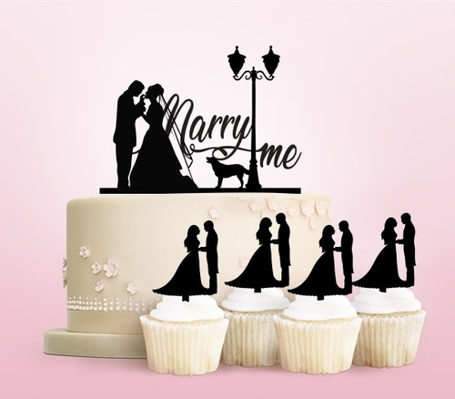 TC0116 Marry Me Party Wedding Birthday Acrylic Cake Topper Cupcake Toppers Decor Set 11 pcs