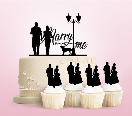 TC0126 Marry Me Party Wedding Birthday Acrylic Cake Topper Cupcake Toppers Decor Set 11 pcs