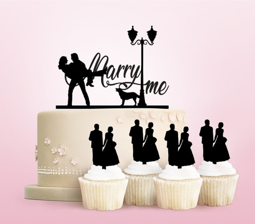 TC0148 Marry Me Family Party Wedding Birthday Acrylic Cake Topper Cupcake Toppers Decor Set 11 pcs