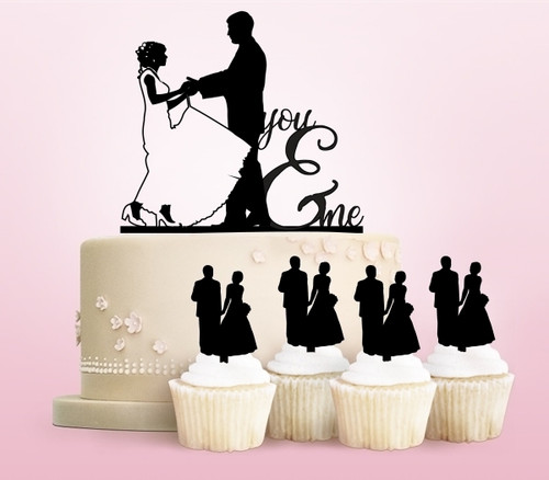 TC0172 You and Me Marry Party Wedding Birthday Acrylic Cake Topper Cupcake Toppers Decor Set 11 pcs