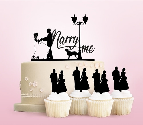TC0173 Marry Me Marry Party Wedding Birthday Acrylic Cake Topper Cupcake Toppers Decor Set 11 pcs
