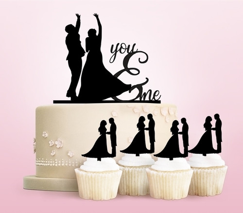TC0207 You and Me Marry Party Wedding Birthday Acrylic Cake Topper Cupcake Toppers Decor Set 11 pcs