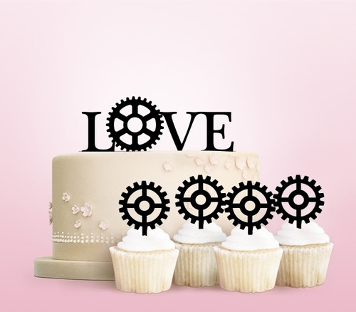 TC0208 Love Engine Gear Party Wedding Birthday Acrylic Cake Topper Cupcake Toppers Decor Set 11 pcs