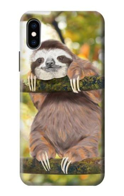 S3138 Cute Baby Sloth Paint Case For iPhone X, iPhone XS
