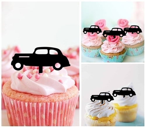 TA1143 Old Car Retro Silhouette Party Wedding Birthday Acrylic Cupcake Toppers Decor 10 pcs