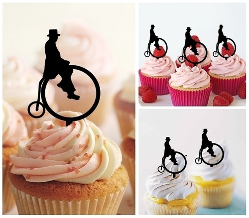 TA1180 Retro Penny Farthing Silhouette Party Wedding Birthday Acrylic Cupcake Toppers Decor 10 pcs