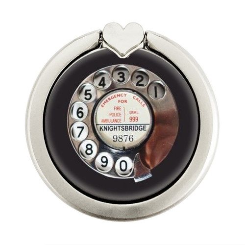 S0059 Retro Rotary Phone Dial On Graphic Ring Holder and Pop Up Grip