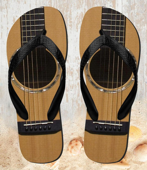 FA0001 Acoustic Guitar Beach Slippers Sandals Flip Flops Unisex