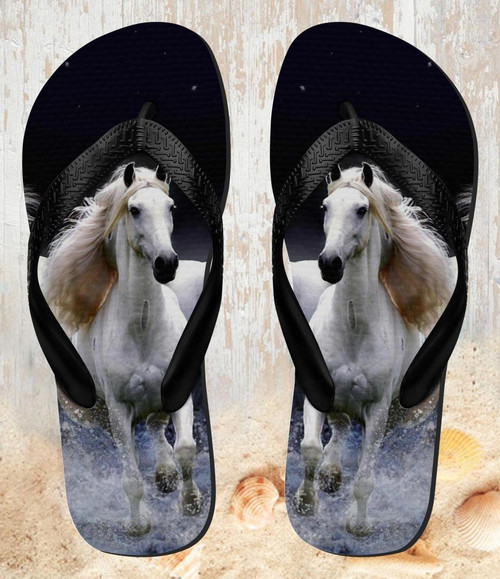 FA0020 White Horse Beach Slippers Sandals Flip Flops Unisex