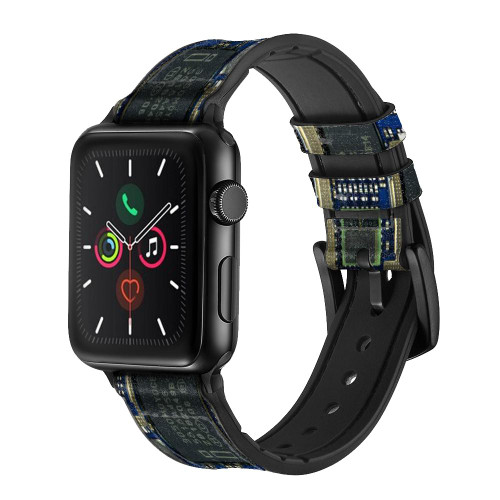 CA0004 Curcuid Board Leather & Silicone Smart Watch Band Strap For Apple Watch iWatch