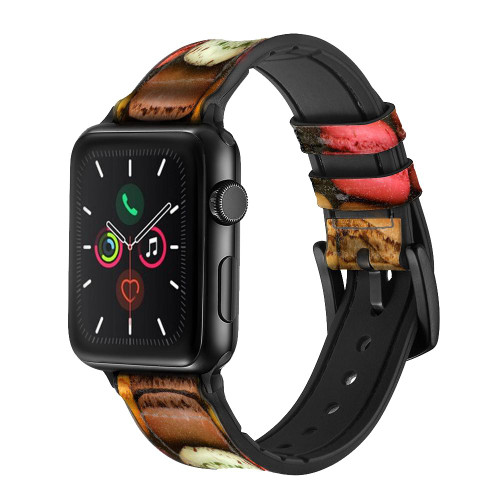 CA0009 Macarons Leather & Silicone Smart Watch Band Strap For Apple Watch iWatch