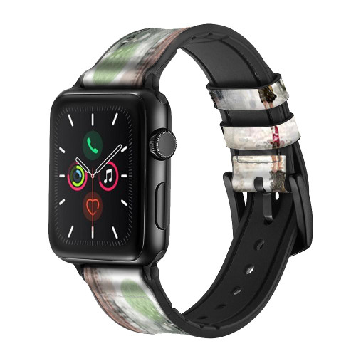 CA0013 Girl in The Rain Leather & Silicone Smart Watch Band Strap For Apple Watch iWatch