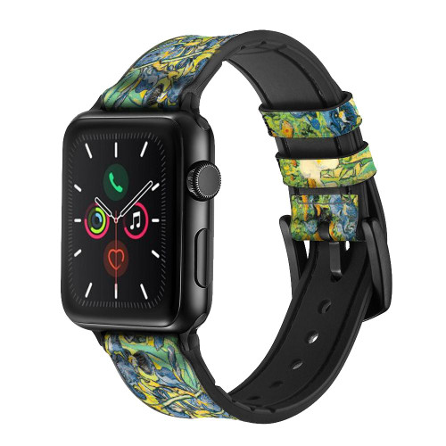 CA0019 Van Gogh Irises Leather & Silicone Smart Watch Band Strap For Apple Watch iWatch