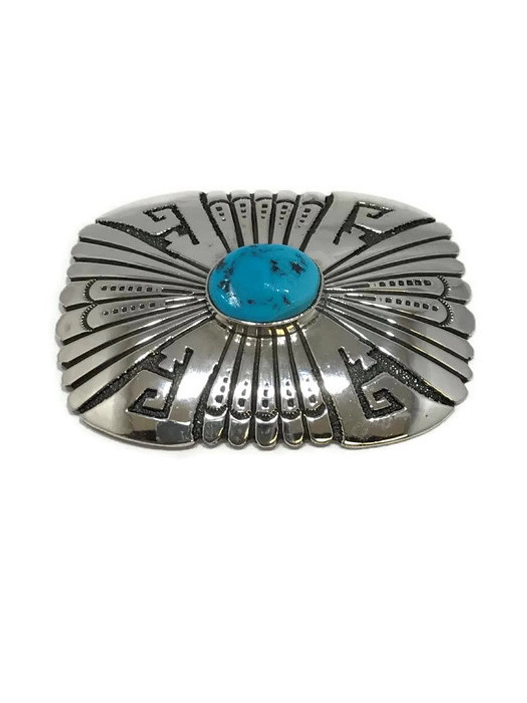 Tommy Singer silver stamped pendant and pin with Sleeping Beauty Turquoise.
