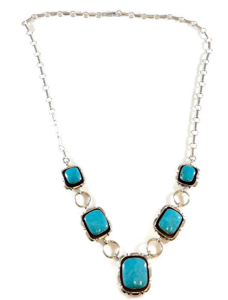Kingman Turquoise Shadowbox Necklace Artist: Jimson Belin