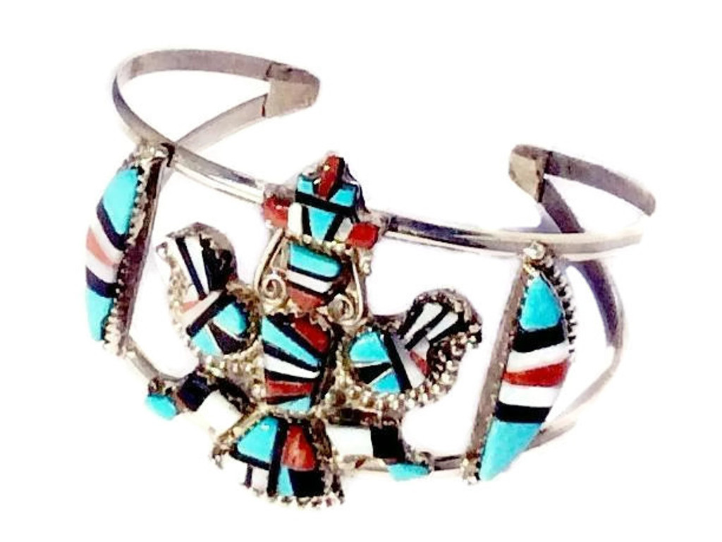 Sleeping Beauty Turquoise, Jet, Coral, and Mother of Pearl Stones Zuni Inlay Design Crown Dancer Cuff Bracelet Zuni Native American Jewelry Handcrafted