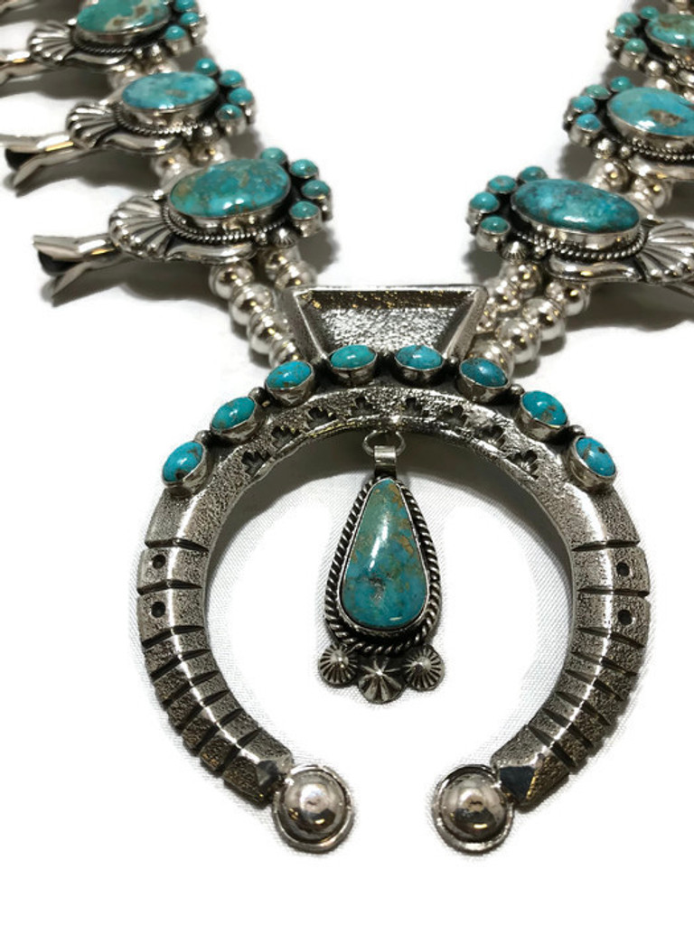 Chaco Canyon Kingman Turquoise Squash Blossom Necklace with Earrings