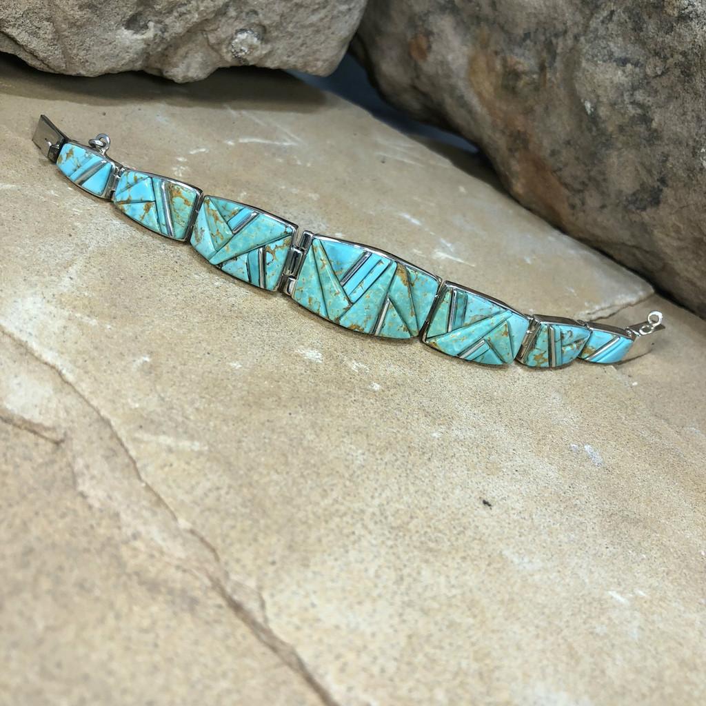 Chaco Canyon Calvin Begay Navajo Turquoise Bracelet