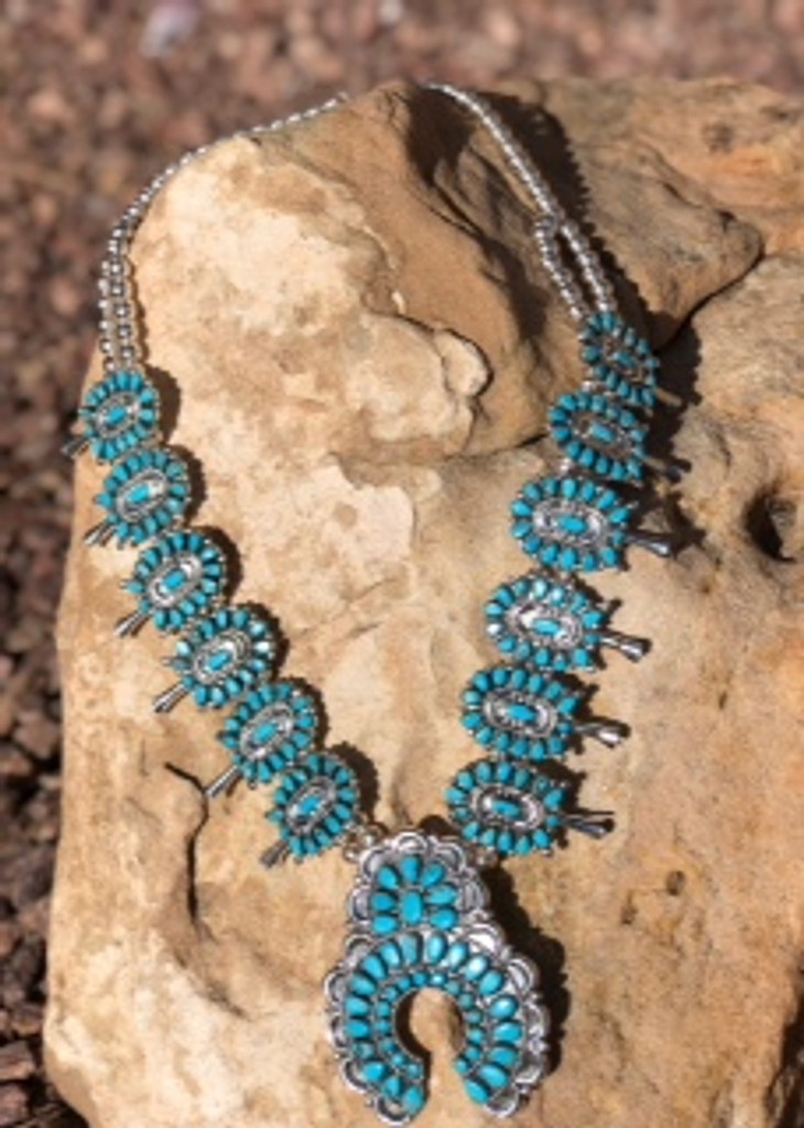 Turquoise And Sterling Squash Blossom