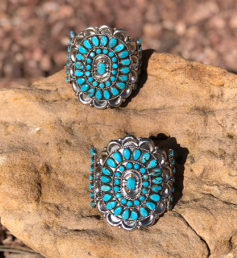 Turquoise And Sterling Cluster Bracelets